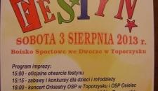 FESTYN W TOPORZYSKU 2013 Organizowany przez OSP Toporzysko i Stowarzyszenie Sportowe BÓR